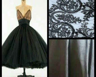 Custom Made 1950's Black Lace Strapless Tulle Backless Evening  Prom Wedding Dress