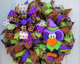 Halloween Crow Mesh Wreath, Fall Porch Wreath, Halloween Door Wreath, Fall door Wreath, Crow Wreath, Fall Mesh Wreath, Halloween Wall Wreath