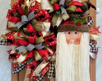 Country Santa Wreath, Christmas Wreath, Best Door Wreath, Winter Wreath, Santa Wall Decor, Santa Decoration, Porch Wreath, Xmas Wreath