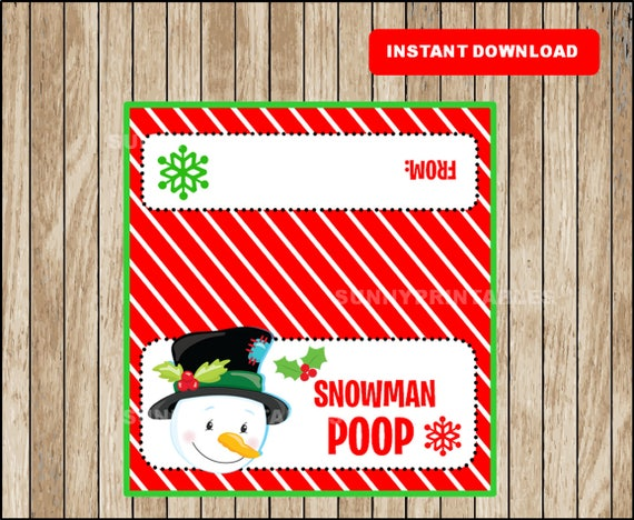 Accomplished image in snowman poop printable bag topper