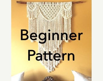 "FLASH 25% OFF Pattern pdf DIY Macramé Wall Hanging ""Beauregard"" Beginner Swag Design Basic Instructions Macrame Fiber Arts Pattern Only"