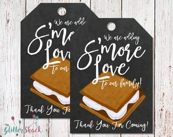 S'mores Baby Shower Favors, PRINTABLE Baby Shower Gift Tags, We're Adding S'more Love To Our Family Thank You Tags, Baby Shower Party Favors