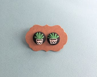 Pot plant - hand embroidered earrings
