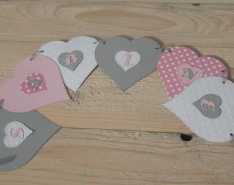 Paper Garland, heart and name - party or kids room or christening or birthday decor - grey and white