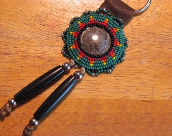 Native American Beaded Rosette Keychain Beaded Keychain Beaded Keyring Genuine Indian Head Nickel