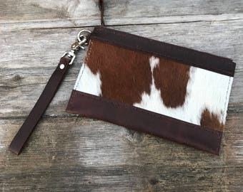 Hair-on Cowhide Clutch Wristlet Brown Oil-tanned Kodiak Pull-up Leather