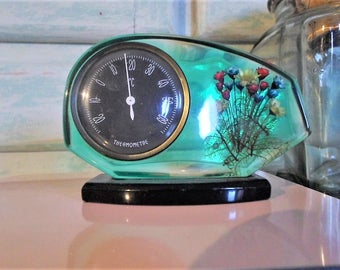 vintage flower inclusion thermometer