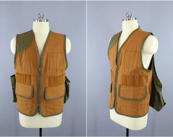 1980s Vintage Hunting Vest / SafTbak Shooting Vest / Canvas Hunting Vest / Bird Hunting / Pouch on Back / Quail Hunting / Pheasant Hunter