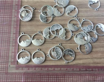 Ancient silver plated double  mountain charms for necklace making Hiking pendant charms  outdoor charm Mountain Climber Necklace CHARM 5#