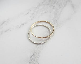 Hammered Ring - Stacking Ring - Sterling Silver - Gold Filled - Thin Band - Minimalist Ring - Midi Ring - Dainty Ring - Textured Ring