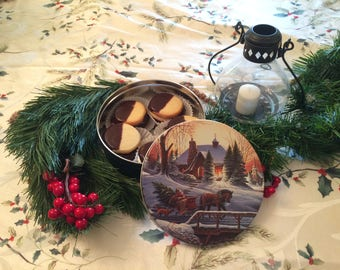 Spritz Cookies in a Christmas Cookie Tin, Cookie Care Package, Nut Free Christmas Cookies, Employee Gift, Cookie Gift Basket, Hostess Gift