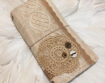 Tea Dyed VINTAGE Boho LACE - STANDARD Travelers Notebook - Handmade with Love xo