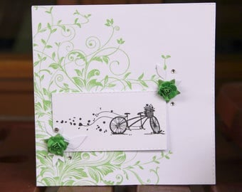 Wedding card - romantic bycicle and green leaves
