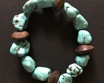 Turquoise and wood beaded bracelet