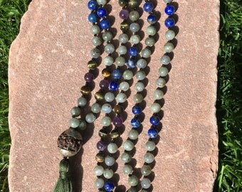 Natural Gemstone 108 Bead 8mm Mala / Prayer Beads / Necklace-  Labradorite, Lapis Lazuli, Tiger's Eye, Amethyst