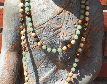 Natural Gemstone 108 Bead 8mm Mala / Prayer Beads / Necklace - Green Aventurine, Picture Jasper. Tiger's Eye