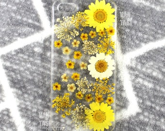 Real Floral pressed flowers Natural flower case cover for iphone 5 5s SE 6 6s 7 8 X Plus Iphone X case Skin real flowers Yellow