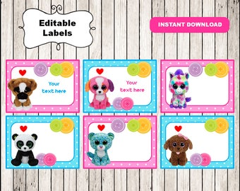 Beanie Boo Printable Cards, tags, book labels, stickers, kids cards, gift tags, labeling, scrapbooking EDITABLE INSTANT DOWNLOAD