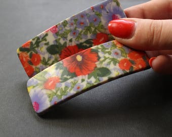 Retro Hair Clip Floral Hair Clips for Women, Flower Hair Clip Vintage French Barrettes Red, French Barrettes Hair Clip, Floral Clip for Hair