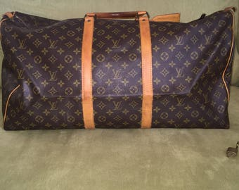 Authentic Vintage Louis Vuitton Keep All 60 with Luggage Tag and Lock&Key