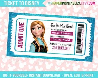 Anna Disney Princess Printable Ticket To Disney DIY Personalize INSTANT DOWNLOAD Disney World Disneyland Surprise Pass Disney Princess