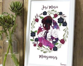 Jose Maria Manzanares purple color flower A4 poster
