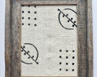 White Mudcloth Textile Art Framed Barnwood