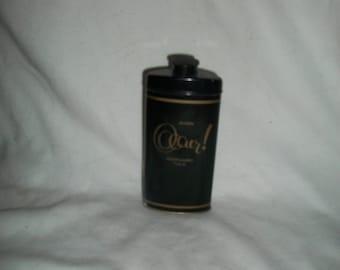 Vintage Avon Occur! Perfumed Talc in Black, Gold Tin, Full, 2.75 oz.