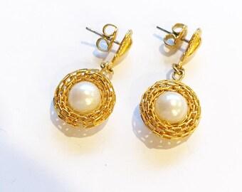Vintage Retro Gold Tone, Faux Pearl Earrings