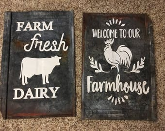 Repurposed/Tin Shingles/Urban Farmhouse/ home decor