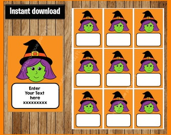 Witch Thank You Tags - Halloween Tags - Halloween Favor Tags - Halloween Gift Tags - Halloween Treat Tags Editable