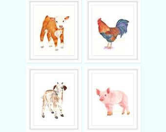 Farm Animals, Farmhouse Decor, Nursery Wall Art, Set of 4 Prints, Farmhouse Wall Decor, Farm Animals, Animal Prints for Nursery, Watercolor
