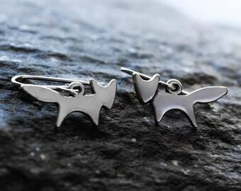 Silver fox earrings | Sterling silver fox charm earrings | Woodland earrings | Fox jewellery | Gift for fox lover | Simple fox jewelry