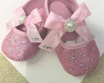 Pink Baby shoes- Pink Girls Shoes- Pink Glitter Baby shoes- Rhinestone and Pearls pink baby shoes-Weeding Baby shoes-Dressy baby shoes