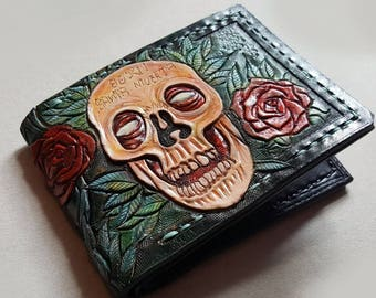 Green Crow Skull and roses - Leather Bifold Wallet - Handcrafted Skull Wallet -