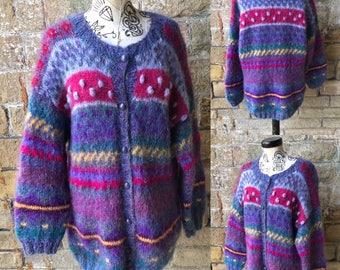 Vintage Multicoloured Cardigan - UK Size 16/US Size 12