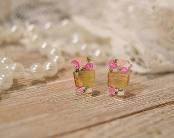 Coffee Cup Earrings | Handpainted | Florals | Coffee | Earrings | Stud Earrings | Acrylic