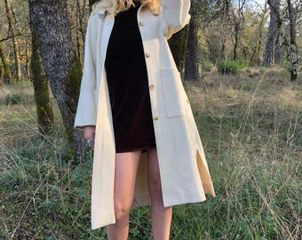 60s White / Bone Wool Coat Knee Length - With Side Slit