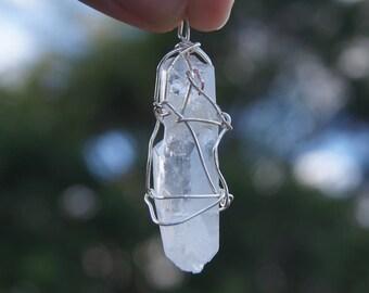 Silver Wire Wrapped Quartz Pendant