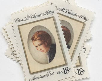 10 Vintage Unused Postage Stamps US // Edna St. Vincent Millay // 18 cents // 1981