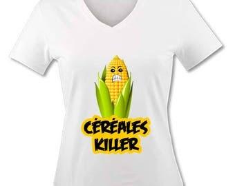 T-shirt V neck woman - cereal Killer