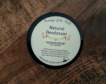 All Natural Deodorant - Unscented, handmade, Natural