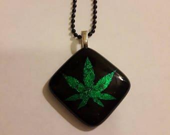 Handmade Large Green Dichroic Cannabis Leaf