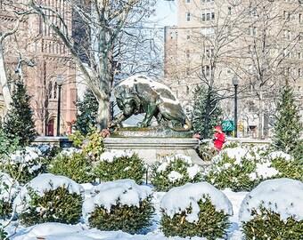 Lion Statue At Ritten House Sq ,Snow Seen(12x14),Canvas Art.