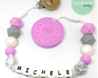 Personalized Pacifier and Teether - Baby - Toddler - Kids - Autism Toy - Newborn Gift - pink Oreo Cookie - Chew Toy - Silicone oreo