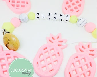 Pineapple Silicone Teether - baby - toddlers - newborn - gift for baby - silicone beads - chewable teether - little girls - kids - chew bead
