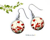 Boucles d'oreilles coquelicots ,crochets anti-allergie,Poppy earrings, anti-allergy hooks, ref.N 371