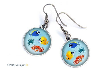 Blue fish earrings / ocean / Fund sailor /Crochets anti-allergic, ref.60/resin cabochons