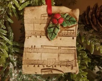 Clay Christmas Ornament, Sheet Music Christmas Ornament