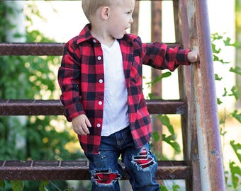 Buffalo plaid jeans, patched jeans, distressed denim, buffalo pload patches, ripped denim, distressed jeans, kids jeans, baby jeans